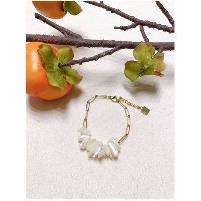 Bracelet pierre agate blanche chaine acier inoxydable - Mile Mila