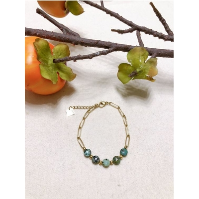 Bracelet turquoise africaine taillée chaine acier inoxydable - Mile Mila