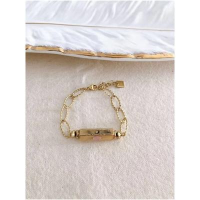 Bracelet cylindre rose-doré acier inoxydable - Mile Mila