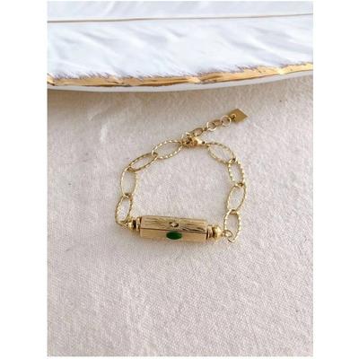 Bracelet cylindre vert-doré acier inoxydable - Mile Mila
