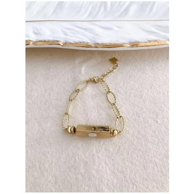 Bracelet cylindre blanc-doré acier inoxydable - Mile Mila