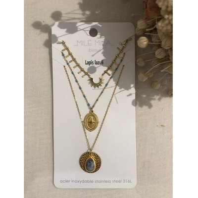 Collier multirangs lapis lazuli doré acier inoxydable - Mile Mila