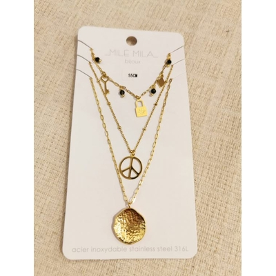 Collier multirangs peace doré acier inoxydable - Mile Mila
