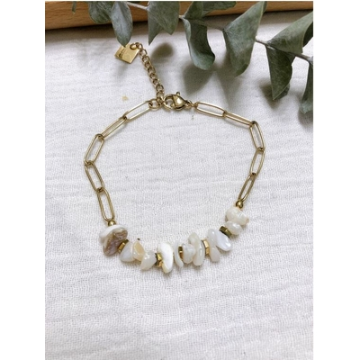 Bracelet pierre nacre chaine acier inoxydable - Mile Mila