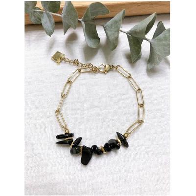 Bracelet pierre onyx chaine acier inoxydable - Mile Mila