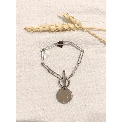 Bracelet maille piecette argent acier inoxydable - Mile Mila