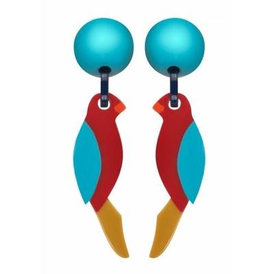 Boucles d'oreilles clips perroquet boule bleu queue marron MARION GODART