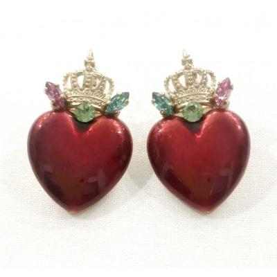 Boucles d'oreilles dormeuses glamour cœur et cristaux Swarovski multicolore Collection Taormina - Satellite