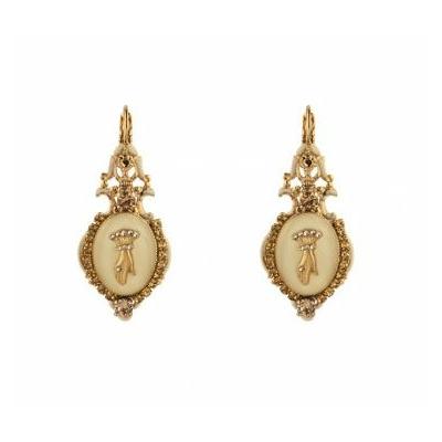 Boucles d'oreilles dormeuses poétiques main strassée et cristaux beige Collection Taormina - Satellite