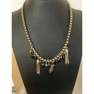 Collier pendentif féminin pampilles et perles noir Collection Taormina - Satellite