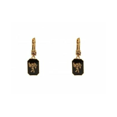 Boucles d'oreilles dormeuses baroques ange noir Collection Taormina - Satellite