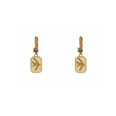 Boucles d'oreilles dormeuses poétiques hirondelle beige Collection Taormina - Satellite
