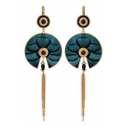 Boucles d'oreilles dormeuses féminines plumes I bleu collection Fujita - Satellite
