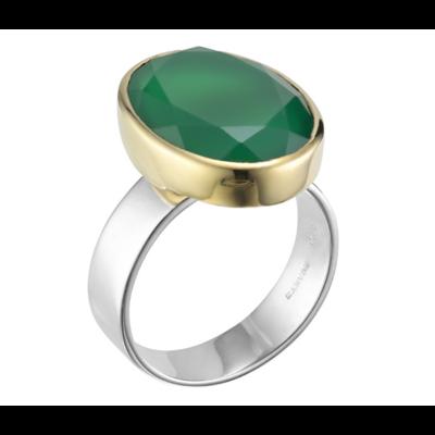 Bague argent décorée d'un onyx vert ovale serti de laiton et vert sur un anneau en argent plat et large argent 925 - Canyon