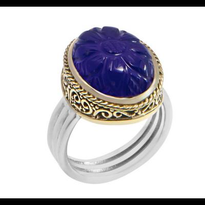 Bague argent décorée d'une fleur gravée dans une calcédoine bleu foncé ovale serti de laiton filigrané et d'un anneau en argent 925 - Canyon