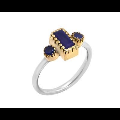 Bague argent composée d'une calcédoine bleu foncé rectangle et de 2 calcédoines bleu foncé rondes serties griffes en laiton et d'un anneau argent 925 - Canyon