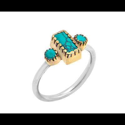 Bague argent composée d'une turquoise reconstituée rectangle et de 2 turquoises reconstituées rondes serties griffes en laiton et d'un anneau argent 925 - Canyon