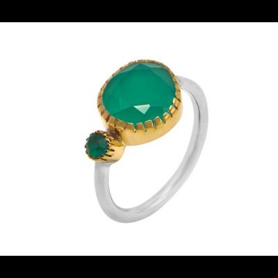 Bague argent composée de 2 onyx verts sertis griffes en laiton et d'un anneau argent 925 - Canyon