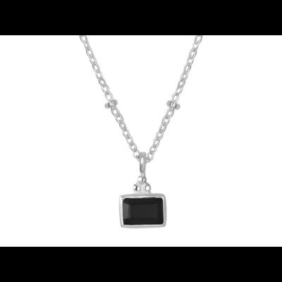 Collier argent compose d'une petite chainette ornee de miniboules et d'un pendentif rectangle en onyx noir decore de 3 miniboules argent 925 - Canyon