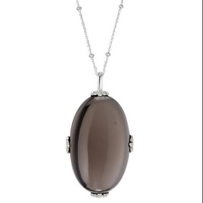 Collier argent compose d'une longue chainette ornee de microboules et decoree d'un long ovale de quartz fume decore de 4 griffes en forme d'eventail argent 925 - Canyon