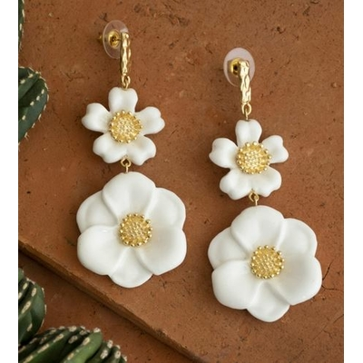 Boucles d'oreilles Fleurs Blanches  - Nach