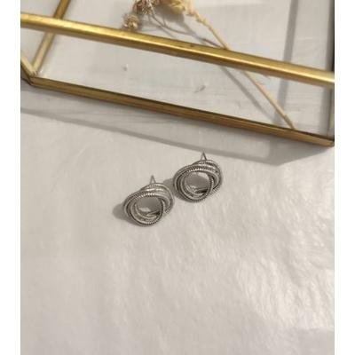 Boucles d'oreilles torsade argenté acier inoxydable puces - Mile Mila