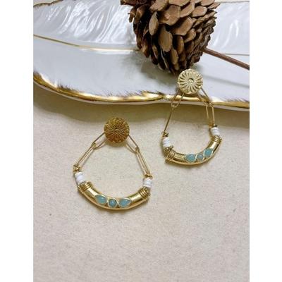 Boucles d'oreilles chaine, aigue marine et pierres doré acier inoxydable puces - Mile Mila