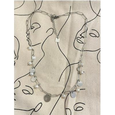 Collier maille longue piécettes et perles nacrées argenté acier inoxydable - Mile Mila