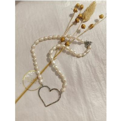 Collier coeur perles d'eau douce argenté acier inoxydable - Mile Mila