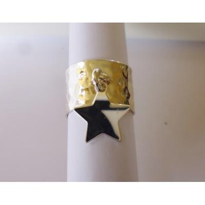 bague étoile argent massif matelée reglable  LA BELLE SIMONE