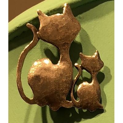broche MAMAN et BEBE chat argent  hauteur 4.5cm largeur 3.5cm  LILI LA PIE