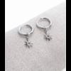 Boucles d'oreilles mini créoles étoile argent pendentif H0.60cm x 0.60cm créole 1.50cm acier inoxydable  Milë Mila  M19E07 11.4