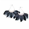 Boucles d'oreilles clous plume gris argent H 8.5cm L 9.0cm acier inoxydable Milë Mila  M5B055 20.4