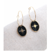 Boucles d'oreilles créole ovale étoile filante noir doré pendentif H1.50cm x 1.20cm créole 2.00cm acier inoxydable Milë Mila   M18E009 21.9