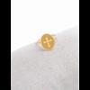 M18R015 Bague réglable croix fond jaune doré pendentif H1.50cm  L1.2cm cm acier inoxydable - Milë Mila 14.4