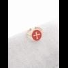 M18R015 Bague réglable croix fond orange doré pendentif H1.50cm  L1.2cm cm acier inoxydable - Milë Mila 14.4