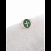 M18R015 Bague réglable croix fond vert doré pendentif H1.50cm  L1.2cm cm acier inoxydable - Milë Mila 14.4