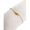 Bracelet plume dorée perles bleus pendentif H0.8cm L2.0cm acier inoxydable - Mile Mila  M1BR086 14.4