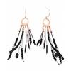 Boucles d'oreilles crochets anneau perles noir chaines or rose H 6.5cm L 1.2cm argent acier inoxydable Mile Mila    M5B38 23.3