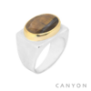 Bague argent très grand oeil de tigre rectangle sertie de laiton - Canyon