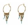 Boucles doreilles créoles percées estivales nacre I turquoise Collection Timor - Satellite Paris