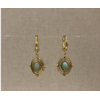 boucles d'oreilles créole pierre aventurine acier inoxydable doré - Mile Mila