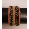 Bracelet OPERA GOLD collection gold - cuir naturel de renne et fils d'argent - Hanna Wallmark 1 349 17.5 noir et camel 3large