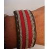 Bracelet SUMMER rouge collection classic manchette - cuir naturel de renne et fils d'argent - Hanna Wallmark 1 150 17.5
