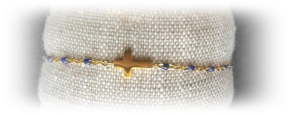 émail bleu croix