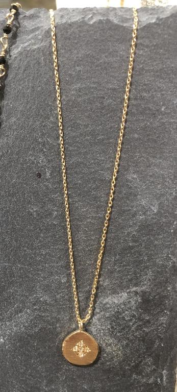 Collier Hope médaille Cross Zirconium or