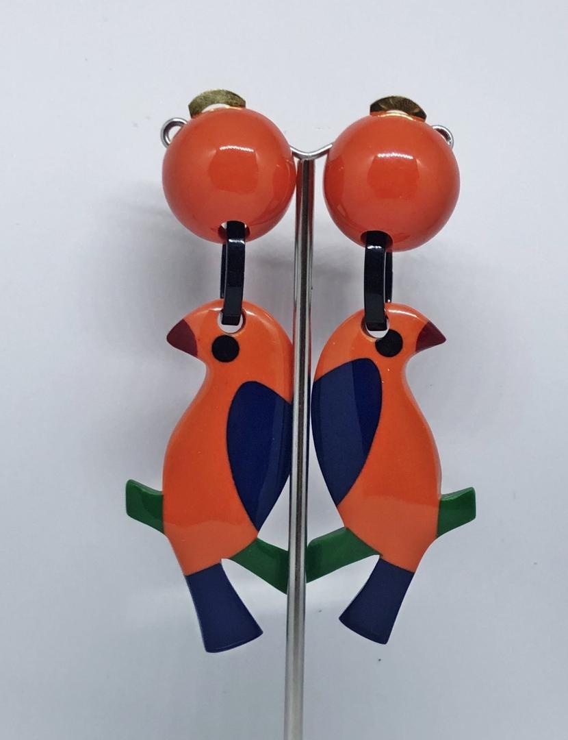 perruche orange 34 2 paires 8cm
