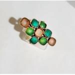 Bague 9 pierres calcédoine rose calcédoine bleu et turquoise argent 925 - Canyon 3