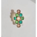 Bague 9 pierres calcédoine rose calcédoine bleu et turquoise argent 925 - Canyon 4