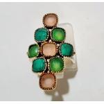 Bague 9 pierres calcédoine rose calcédoine bleu et turquoise argent 925 - Canyon 6